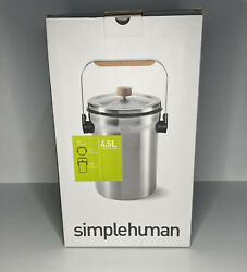 Simplehuman Compost Pail 4.5 litres Stainless Steel NIB New Open Box $60.00
