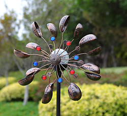 Large Solar LED Metal Wind Spinner Outdoor Lawn Garden Decor Stake Yard Windmill