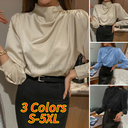 Womens Elegant Shirts High Neck Tunic Top Long Sleeve Pullover Casual Blouse Tee $11.95