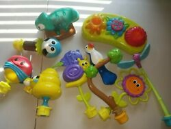 Lot of 10 Evenflo Bumbly rainforest Exersaucer Switch a Roo toy attachments $24.95