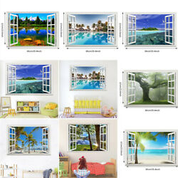 3D Window Exotic Landscape Beach View Wall Stickers Wall Decorations Wall Mural $13.99