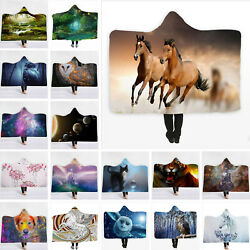 Funny Owl Running Horse Hooded Blanket Anti Pilling Wearable Throw Cape Wrap $21.99