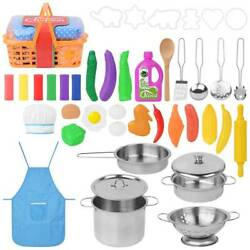 42Pcs Kitchen Sets Children Food Cooking Cookware Pan Pretend Play Toy For Kids $25.35