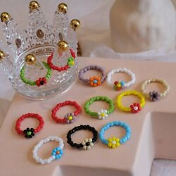 Fashion Boho Flower Colorful Summer Beaded Ring Adjustable Women Jewelry Gifts C $0.99