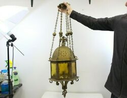 Antique hanging Tin amp; Amber Glass Chandelier Wall Light Fixture Hotel Home $265.99