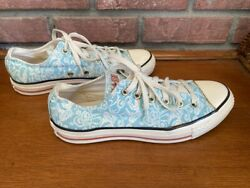 Converse All Star Women#x27;s 8 Blue and White Koi Fish Low Tops Unique $25.00