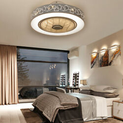 20quot; Modern Ceiling Fan Dimmable Led Light Remote Control Flush Mount LampTiming $119.00