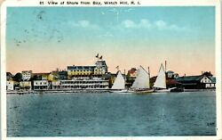 Postcard RI Watch Hill Rhode Island View of the Shore from the Bay Sailboats WB $5.99