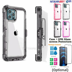 iPhone 12 12 Pro Max Clear Crystal Cover Case With Clip Belt Tempered Glass $12.99