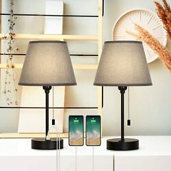 Set of 2 Bedside Table Lamps Dual USB Nightstand Lamps for Bedroom Living Room $38.40