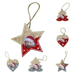 Mini Christmas Tree Hanging Wooden Picture Frame Ornaments Holiday Party Decor $6.64