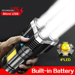 4Head LED Rechargeable Tactical Flashlight Torch COB Sde Light Camping Spotlight $15.99