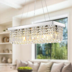 23.6quot; Rectangle Crystal Chandelier Modern Pendant Lighting Ceiling Hanging Lamps $149.39
