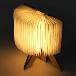 Wooden Paper LED Folding Book Lamp USB Rechargeable Night Light For Reading USB $28.52