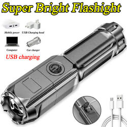 LED Rechargeable Tactical Flashlight Zoom Torch Light Outdoor Camping Spotlight $9.99