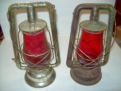 vintage dietz barn lanterns quot; 2 quot; 210 supreme amp; monarch both with red globes $156.00
