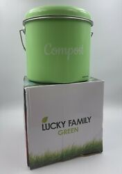 Lucky Family Green Countertop Compost 1.6Gal Stainless Steel Composting Bucket $19.98