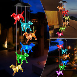 Crystal Dog Solar Wind Chimes Outdoor Large LED Color Changing Garden Home Decor $12.98