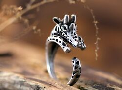 Silver Giraffe Round Knuckle Ring Women Men Retro Jewelry Party Gift Adjustable C $1.10