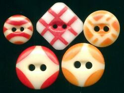 5 Orange Red Antique China Stencil Buttons…Dif Patterns amp; Sizes inc Big Square $35.00