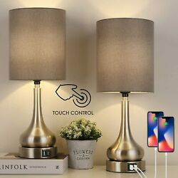 Set of 2 Touch Control Table Lamps with Dual USB Ports Reading Light Bedroom $40.49