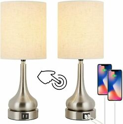 2 Pack Bedroom Lamps Touch Control for Living Room with 2 USB Charging Ports $40.99