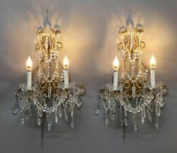 PAIR VINTAGE ITALIAN STYLE WALL HANGING CRYSTAL BEADED CANDELABRA WALL SCONCES $1175.00