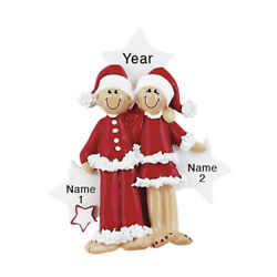 Personalized Christmas Ornament Pajama Lovers Couple Family of 2 1st Christmas $14.95