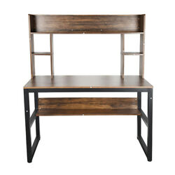 47quot; Fuctional Computer Desk with Bookshelves Study Writing Table for Home Office $65.99