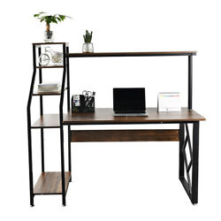 47quot; Computer Desk with 4 Tier Shelves Home Office Study Writing Workstation Desk $69.99