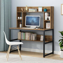 Fuctional Computer Desk with Bookshelves Simple Study Writing Table Home Office $69.99