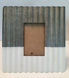 Galvanized Metal Picture Frame Wavy Silver White Easel Farmhouse Rustic for 4x6 $29.79