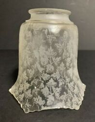 Vintage Frosted and Etched Lamp Shade 2 1 4quot; fitter Etched Leaf Design $15.25
