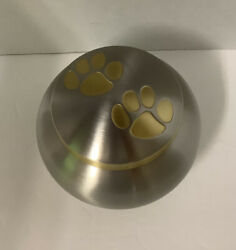 ODYSSEY PET MEDIUM ANIMAL URN DOUBLE PAW PRINT SILVER PEWTER LOOK WITH GOLD TRIM $25.00