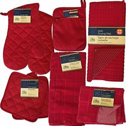 This Red Kitchen Starter Set Has Oven Mitts Pot Holders Kitchen Towels M... $38.20