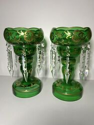 Crystal Bohemian? Glass Mantle Lusters Green Gold Pair of 2 $350.00