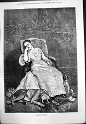 Old Sleeping Beauty Lady Dozing Chair Dog Feet Hare#x27;S Foot Brushes 1879 19th GBP 19.00