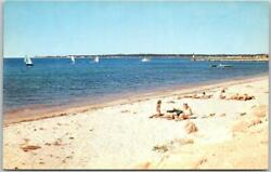 1950s quot;Greetings from RHODE ISLANDquot; Postcard w Girls on the Beach Unused Chrome $3.50