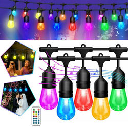 48FT RGB String Lights Color Changing153 Bulbs S14 LED Hanging Outdoor Remote $49.92