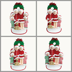 PERSONALIZED Christmas Ornament Pajama Family with Dog of 3 4 5 6 Holiday Gift $15.25