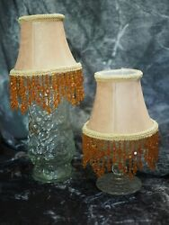 Pair Light Gold Yellow Floral Cloth Clip On Mini Shades Chandelier 4quot; $11.95