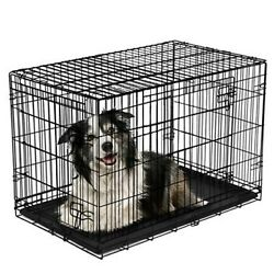Vibrant Life Double Door Folding Dog Crate with Divider X Large 42quot; $61.99