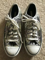 CONVERSE All Star Women#x27;s Athletic Shoes Size 7 Silver Sparkle $26.00