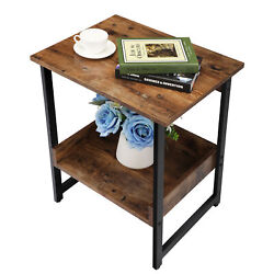 Vintage Nightstand Coffee End Table Couch Side Table w Storage Rack Bedroom $54.99