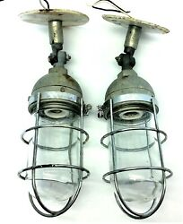 Vintage Pair Industrial RAB Outdoor Fixtures Safety Lights Globes Covers Parts