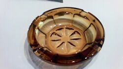 MID CENTURY HEAVY THICK 8quot; AMBER GLASS ROUND ASHTRAY STAR DESIGN $17.95