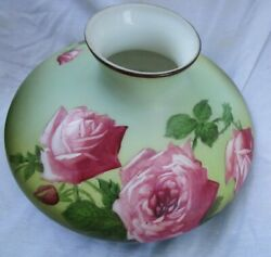 Antique Tam O Shanter Hand Painted Roses on Porcelain Lamp Shade 10quot; Fitter $225.00