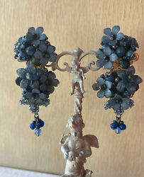 Signed Colleen Toland Demin Blue Chandelier Clip On Earrings Vintage. $75.00