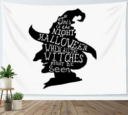 Halloween Tapestry Black White Witch Portrait Wall Hanging Living Room Bedroom $14.99