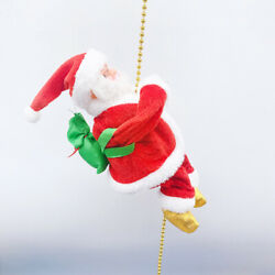 Christmas Ornament Electric Animated Musical Santa Claus Climbing Rope Decor $13.66